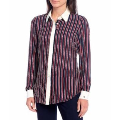 トミー ヒルフィガー レディース シャツ トップス Contrast Trim Global Stripe Long Sleeve Shirt Sky Captain Multi
