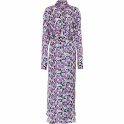 プラン C Plan C レディース ワンピース シャツワンピース ワンピース・ドレス Floral Crepe De Chine Shirt Dress Blue Base Purple Flo