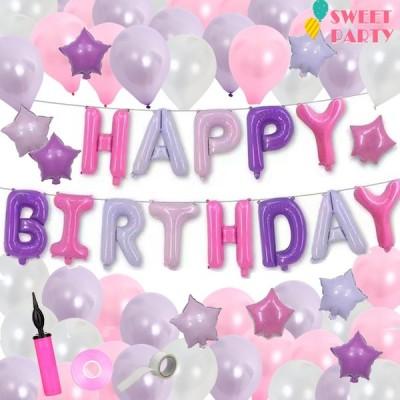 バルーン 誕生日 風船 バースデー 飾り付け 100日祝い ハーフバースデー パーティー インスタ イベント 1歳 ヘリウムガス 浮く セット おしゃれ ラベンダー