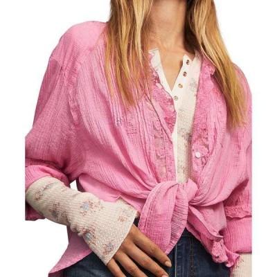 フリーピープル カットソー トップス レディース Clemence Button-Down Lace-Trimmed Blouse Pink