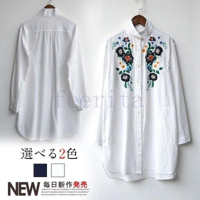 長袖 シャツ 刺繍 シャツ ロング チャイナ風 長袖シャツ トップス レディース