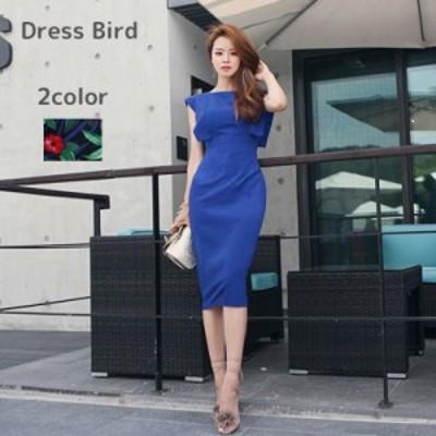 パーティー ドレス ワンピース ノースリーブ フリル ハイウエスト 背中開き スリム セクシー 韓国 mme5174