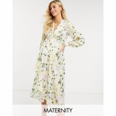 ホープ&アイビー Hope and Ivy Maternity レディース ワンピース ミドル丈 Long Sleeve Twist Front Kimono High Low Midi Dress In Pas