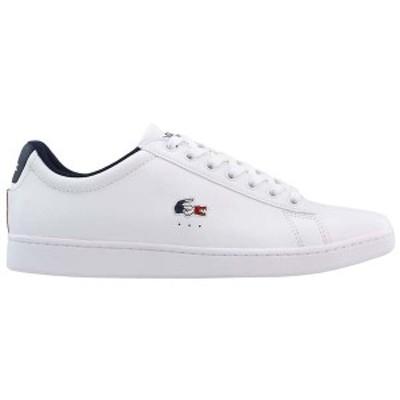 ラコステ メンズ スニーカー シューズ Carnaby EVO Tri 1 Lace Up Sneakers Wht/Nvy/Red