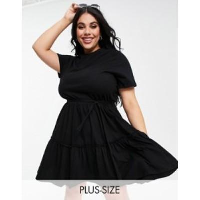 リバーアイランド レディース ワンピース トップス River Island Plus tiered smock mini dress in black Black