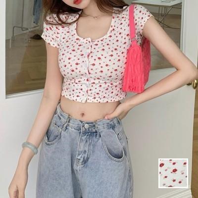 韓国 ファッション レディース トップス Tシャツ カットソー 春 夏 カジュアル ショート 肌見せ Uネック フロントボタン 小花 naloJ592 20代 30代 40代