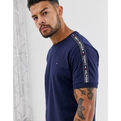 トミー ヒルフィガー メンズ シャツ トップス Tommy Hilfiger authentic lounge t-shirt side logo taping in navy