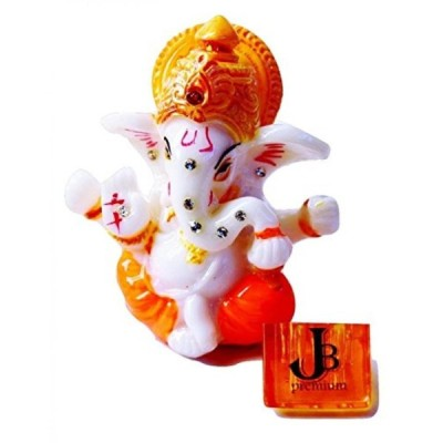 インテリア 2.5ミニ主ガネーシュ ポリ大理石の偶像。成功 - 無料 Agarbati (お香スティック) のヒンドゥー教の神立つ
