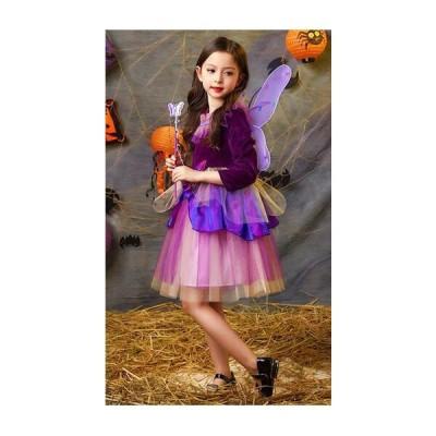 女の子 ワンピース 子供 女の子 妖精  ハロウィン  コスプレ  衣装 魔女 仮装   カチューシャ 棒 つばさ 姫系 パーティー 仮装 キッズ