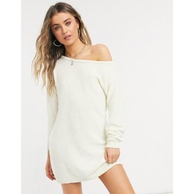 インザスタイル レディース ワンピース トップス In The Style x Billie Faiers off shoulder sweater dress in white White