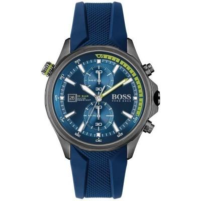 ボス 腕時計 アクセサリー メンズ HUGO Men's Chronograph Globetrotter Blue Silicone Strap Watch 46mm Grey