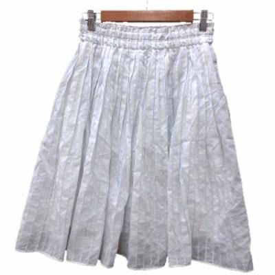 【中古】パンソー Pinceau プリーツスカート ひざ丈 ストライプ 38 白 ホワイト /MN レディース