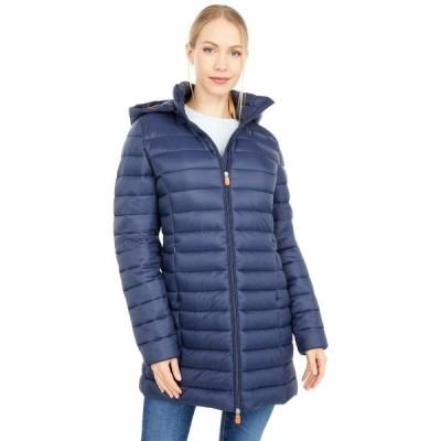 セーブザダック コート アウター レディース Giga Hooded Puffer Jacket with Removable Hood Navy/Blue