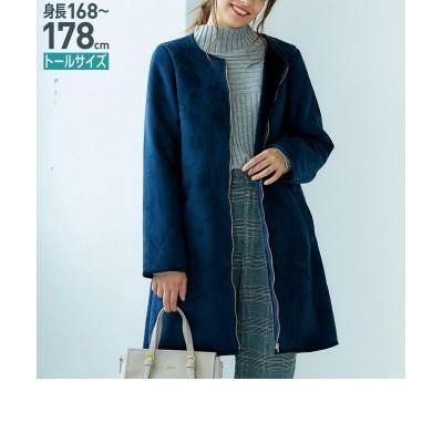 トールサイズ フェイクムートンノーカラーコート 【高身長・長身】コート, tall size, Coat