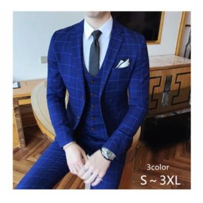3ピーススーツ チェック柄 メンズスーツ カッコイイ 大きいサイズ ビジネス 2つボタンスーツ フォーマル 発表会 結婚式 司会 紳士服 就職