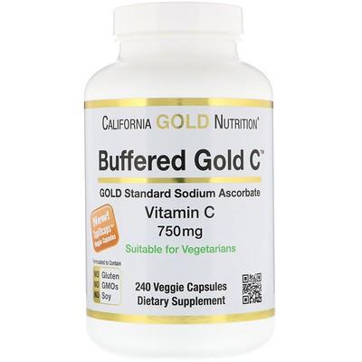 緩衝ビタミンCカプセル、750 mg、植物性カプセル240粒