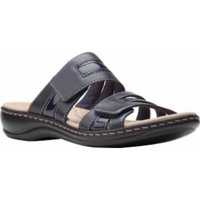 クラークス レディース サンダル シューズ Women's Clarks Leisa Zoe Slide Navy Leather/Synthetic Combination