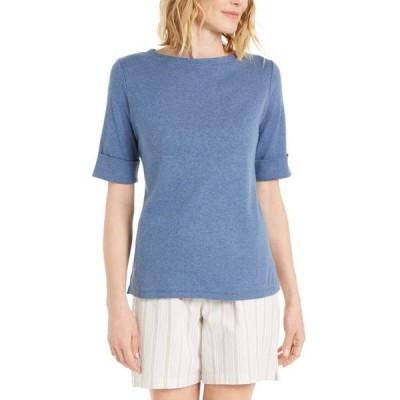 ケレンスコット レディース Tシャツ トップス Petite Cotton Elbow-Sleeve T-Shirt