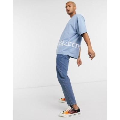 エイソス ASOS Dark Future メンズ Tシャツ トップス oversized t-shirt with DF Collective logo hem print ブルー