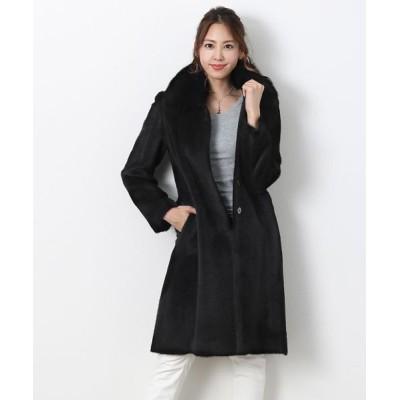 【サンキョウショウカイ】 スーリー アルパカ コート フォックス 襟付き 日本製 レディース ブラック 11号 sankyoshokai