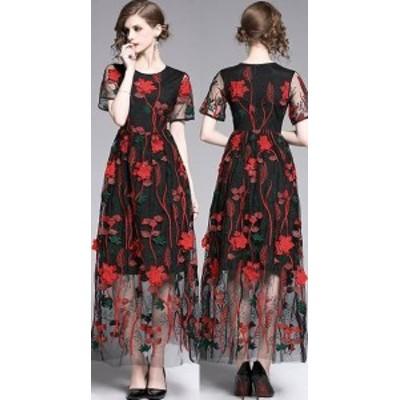 ロングドレス 演奏会 パーティードレス 結婚式 マキシ丈 ワンピース ドレス  シースルー 花柄 大きいサイズ 袖あり