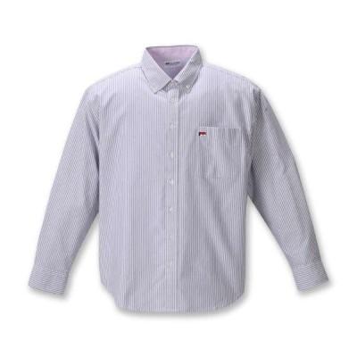 大きいサイズ メンズ H by FIGER オックス ストライプ B.D 長袖 シャツ ブラック × ホワイト 1267-0321-2 3L 4L 5L 6L 8L