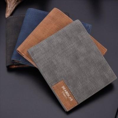 二つ折り 財布 小銭入れなし カード収納 メンズ PU レザー ブラック 無地 薄型 軽量 無地 デニム調 秋
