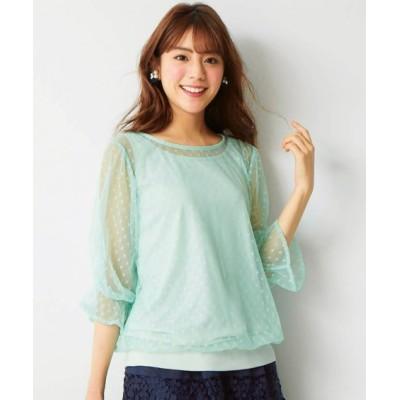 【大きいサイズ】 ボリューム袖ドットチュールブラウス(MIIA)  plus size shirts, テレワーク, 在宅, リモート