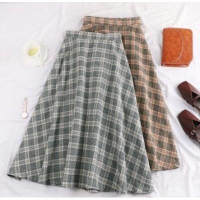 ハイウエストレトロチェック柄ビッグスイングロングスカート