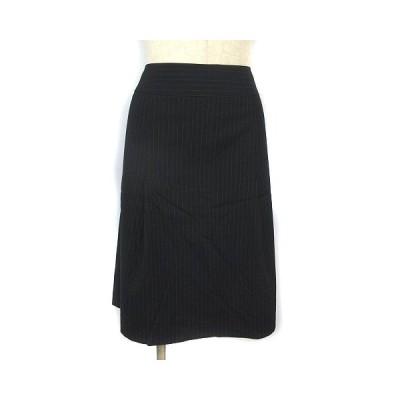 【中古】インディヴィ INDIVI スカート ひざ丈 大きいサイズ ストライプ タック フレア 黒 ブラック 44 レディース 【ベクトル 古着】