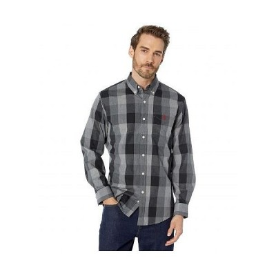 U.S. POLO ASSN. USポロ メンズ 男性用 ファッション ボタンシャツ Long Sleeve Classic Fit Plaid Heather Woven - Campus Gray