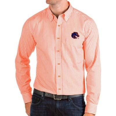 アンティグア Antigua メンズ シャツ トップス Boise State Broncos Orange Structure Button Down Long Sleeve Shirt