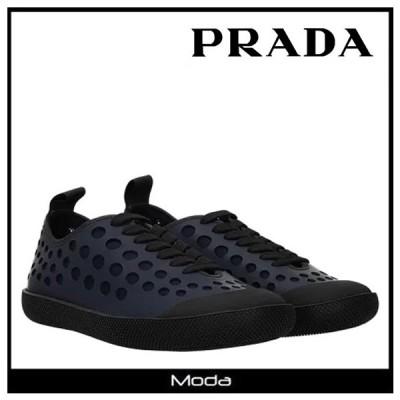 プラダ スニーカー メンズ ネイビー PRADA 靴 レースアップ ローカット