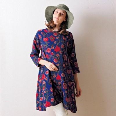 フラワープリントダブルガーゼチュニック / 40代 50代 60代 70代 ファッション シニア ミセス レディース 婦人