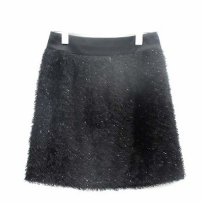 【中古】ボディドレッシングデラックス BODY DRESSING Deluxe 台形スカート ミニ ファー 36 S 黒 ブラック