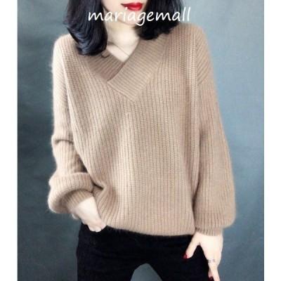 ニットセーター レディース Vネック 3色 無地 長袖 ゆったり 着やすい セーター 人気 トップス秋 冬