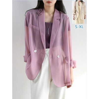 サマーカーディガン シフォン 紫外線対策 夏服 アウター カジュアル ゆったり テーラードジャケット 長袖 レディースUVカット 薄手 UV対策 体型カバー 婦人服