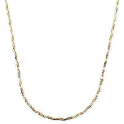ストーンのついていない貴金属 フレメダ Fremada Two-tone Gold over Silver 1.3-mm Wave Square Snake Necklace