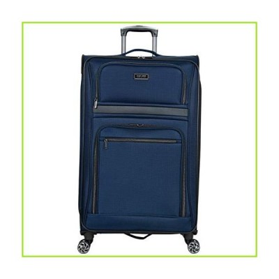 """Kenneth Cole Reaction Rugged Roamer 28"""" Lightweight Softside Expandable 8-Wheel Spinner Checked Travel Luggage, Navy, inch【並行輸入品"""