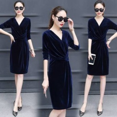 パーティードレス Vネック 七分袖 カシュクール ドレス ベロアワンピース 3色 ひざ丈 スリム 大きいサイズ 上品 エレガント フェミニン