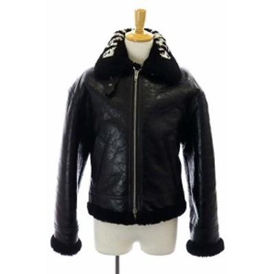 【中古】バレンシアガ BALENCIAGA 18AW ムートンボンバージャケット ジップアップ ボア ロゴ 羊革 44 黒 ブラック