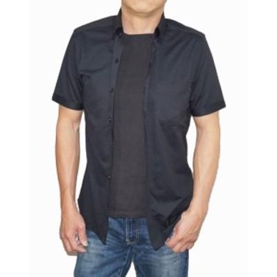 ニコル セレクション NICOLE selection 半袖シャツ 黒 7266-9501 メンズ ブラック 夏物