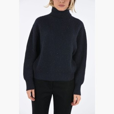 BRUNELLO CUCINELLI/ブルネロクチネリ セーター Blue レディース 秋冬2019 crochet turtle-neck sweater with lurex details dk