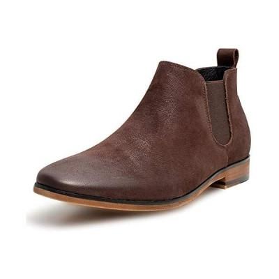 [YIMANIE] ブーツ ビジネスシューズ 本革 サイドゴアブーツ チェルシーブーツ 革靴 メンズ 紳士靴 (ブラウン 24.5 cm)