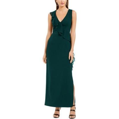 コネクテッド Connected レディース パーティードレス Vネック ワンピース・ドレス Petite V-Neck Ruffled Gown Hunter Green