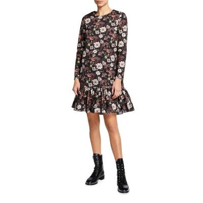 アダム リピズ レディース ワンピース トップス Floral Dropped-Waist Ruffle-Hem Mini Dress