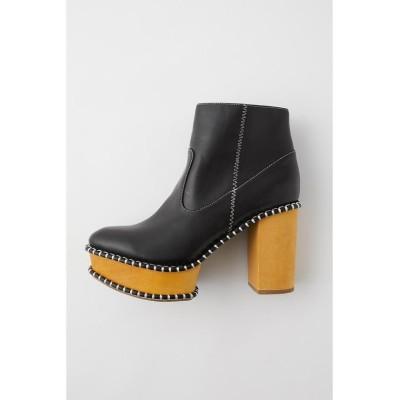 【マウジー】 WOOD SOLE ブーツ レディース 柄BLK5 L MOUSSY