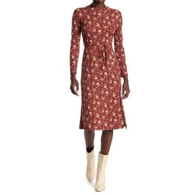 ベルベットトーチ レディース ワンピース トップス Long Sleeve Side Slit Midi Dress BROWN FLORAL