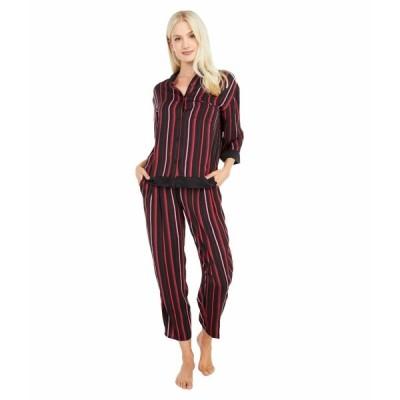 ダナキャラン ナイトウェア アンダーウェア レディース 3/4 Long PJ Set Black Stripe