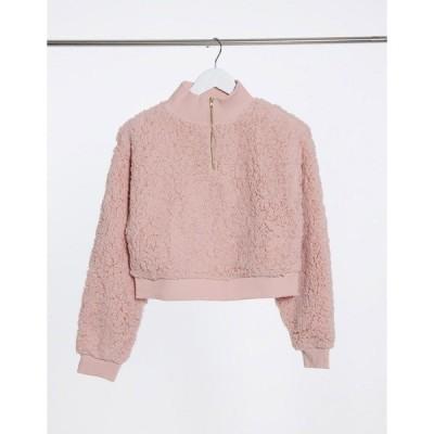 ミスセルフフリッジ レディース パーカー・スウェットシャツ アウター Miss Selfridge teddy sweatshirt in blush Beige